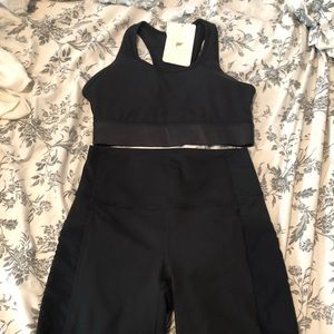 Fabletics bike shorts and bra set
